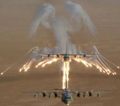 "When a large plane, such as the AC-130, jettisons flares they leave a smoke trail that resembles wings. Pilots have come to call these ""Angel Wings."" Because, you know, not getting blown up is always nice.: Angel Flight, Military Aircraft, Stuff,"