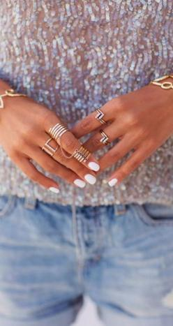 White nails + gold rings. I'm really l❤️ving white nails for summer!!: Fashion, Style, White Nails, Jewelry, Rings, Gold, Accessories, Nail Art