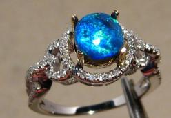 white Opal | ... Opal Rings :: Electric Blue Solid Black Opal & Diamond Ring 14k White: Black Opal Ring, Opal Rings, Diamond Rings, Black Gold Engagement Ring, Opal Wedding Ring, Blue Opal Ring, Black Opal Engagement Ring, Electric Blue