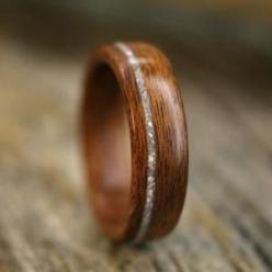 Wood and Diamond Ring mens wedding ring... one of the few things for my wedding my wife will have no say in.  I want this: Wedding Ring, Idea, Diamond Rings, Wedding Bands, Wood Rings