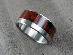 Wood and Titanium Mens Wedding Ring -- Wide Offset Cocobolo Burl Stripe: Burl Stripe, Wedding Crap, Men'S, Stripes, Products, Men Wedding Rings, Wood Wedding Rings