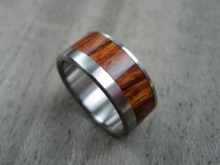 Wood and Titanium Mens Wedding Ring -- Wide Offset Rosewood Stripe: Rosewood Stripe, Offset Rosewood, Men Wedding Rings