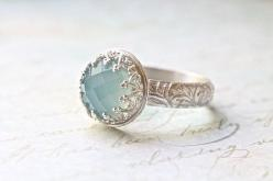 Wow that's pretty! Looks like something I'd see in Lord of the rings like elven jewelry lol. Blue Chalcedony Wedding Ring Set  Crown Bezel & by ButtercupandCo, $80.00: Crown Bezel, Blue Chalcedony, Wedding, Rings, Engagement Ring, Vintage Desi