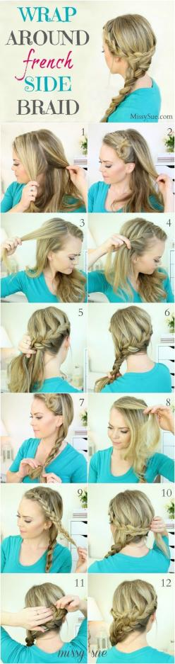 Wrap Around French Side Braid Hairstyle Tutorial: Hairdos, Double French Braid, Side French Braid, Long Hair Braid, Braided Hair Tutorial