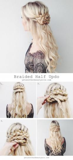 Yet another beauty site: Braided Updo, Braided Half Updo, Wedding Hair, Prom Hair Braid, Hair Tutorial, Half Up Braid, Half Up Hairstyle
