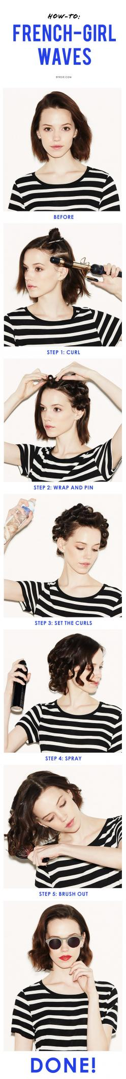 Your step-by-step guide to effortless, cool-girl waves for any length.: Short Hair, French Waves, Hair Tutorial, French Girls, Hair Style, Cool Girl Waves, Step By Step Guide