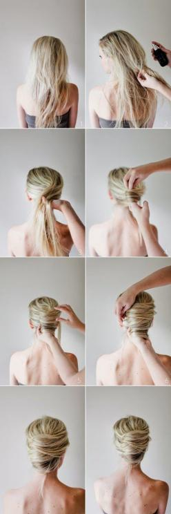 Zoom DIY- 5 Easy Summer Hairstyles ( The 3rd one uses chopsticks, and you pull them out.): Hairstyles, Wedding Hair, Hair Styles, Hairdos, Messy French Twists, Hair Tutorial, Updos, Hair Do, French Twist