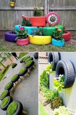 24 Creative Garden Container Ideas Tire planters! Tires and pallets seem to be the way to decorate inexpensively these days.: Garden Container, Garden Ideas, Outdoor Garden, Creative Garden, Pallet Garden, Tyre Planter, Tire Planters, Container Ideas