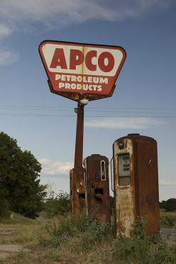 """""""Cogar APCO"""" -- [Abandoned APCO gas station - Highway 37 & Highway 152 & N2730 Road - Cogar, Caddo County, Oklahoma. The phone booth scene from the 1988 movie """"Rain Man"""" was filmed here. It was abandoned at that time as well. The A"""