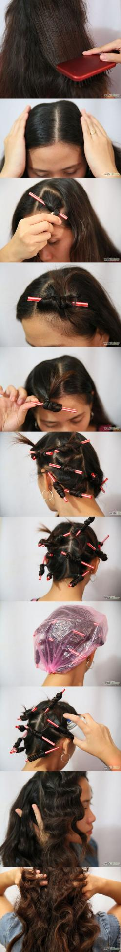 6 Easy Ways to Curl Your Hair with Drinking Straws / Straw Set Tutorials - Fashion Diva Design: Curly Hairstyles, Curls Hair, Curl Hair With Straws, Curl Your Hair With Straws, Fast Hairstyles, Hair Style, Straw Hairstyle, Hairstyles Need