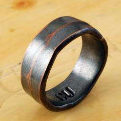 6mm COPPER RING - Architectural Ring - Copper Ring - Wide Ring Band - Textured Band - Wedding Band - For Man, Woman & Child! on Etsy, $44.33 CAD: 38 98 Mensweddingbands, Hob Rings, Copper Wedding Rings, Copper Rings, Wedding Band, Cheap Wedding Rings,