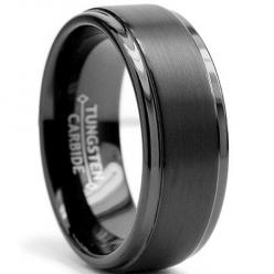 8MM Black High Polish / Matte Finish Men's Tungsten Ring Wedding Band Size 8 - This beautiful Black tungsten ring is 8MM in width. It is all high polish with a matte finish raised center. If you are looking for a ring that is scratch proof and foreve: