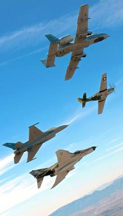 A-10 Warthog, P-51 Mustang. F-16 Eagle, F-4 Phantom  Except there is no such thing as an F-16 Eagle. It is called a Fighting Falcon. The F-15 is called a Strike Eagle.: F 16, Airplane, F16, P 51 Mustang, Eagles, A 10 Warthog