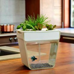 A countertop hydroponics garden that cleans the fish tank by having the plants use the fish waste for food. Genius!!: Gift, Idea, Fish Tanks, Aquarium, Fishtank, Garden