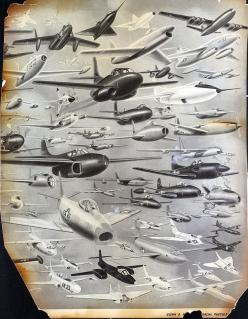 A dizzying collection of military planes (including the B-47 Stratojet, the B-36 Peacekeeper, the F-86 Sabre, the B-52 Stratofortress [an early variation], the F-80 Shooting Star, the Bell X-1, the Northrop YB-49, and many more): Airplane ︎, Jets Planes,