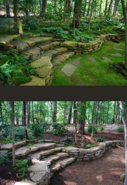 A fantastically thorough article about different types of moss and how to grow them in your own landscape. So much information!: Terraced Garden, Retaining Wall Idea, Backyard Retaining Wall, Moss Garden