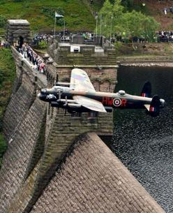 A Lancaster bomber has performed a flypast over Derwent reservoir, 70 years on from the historic World War II raid on German dams. The reservoir was one of the sites where pilots practiced dangerous low-flying ahead of their mission. More than a third of