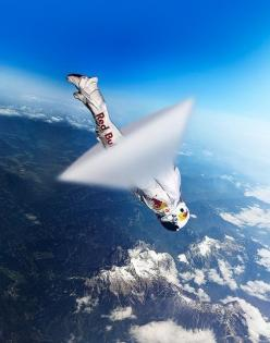 A previous pinner states, Skydiver Felix Baumgartner breaking sound barrier for Red Bull Stratos::: Sound Barrier, Felix Baumgartner, Bull Stratos, Breaking Sound, Red Bull, Photo, Baumgartner Breaking, Redbull