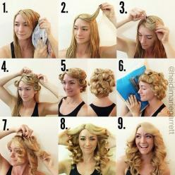 A Step-by-step tutorial for a heat-less curl hairstyle | PinTutorials: Hair Ideas, Hairstyles, Hair Styles, Makeup, No Heat Curl, Heat Curls, Curl Hairstyle, Beauty, Heatless Curls