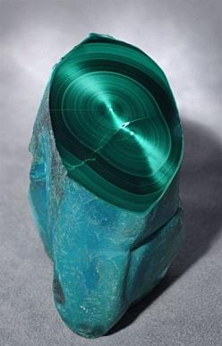 A vivid turquoise blue Chrysocolla exterior has been partially polished to reveal an amazing interior of velvety concentric bands of darker and lighter green chatoyant Malachite.: Congo, Crystals, Gemstones, Partially Polished, Concentric Bands, Polished