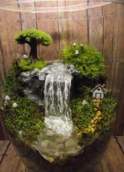 Add a Miniature Waterfall, Pond or River to your Terrarium - Unique Terrarium Accessory - Handmade by Gypsy Raku: Water Fountain, Gardening Idea, Mini Garden, Water Terrarium, Terrarium Idea, Indoor Fountain, Fairy Garden Terrarium