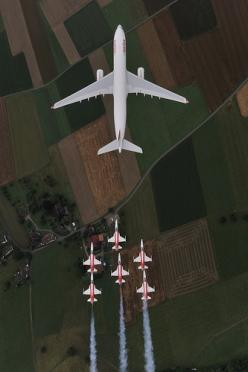 Airbus A330-300 and Patrouille Suisse: Airplanes Airplanes, Airplanes Jets Helicopters, Photos, Sky, Aircraft