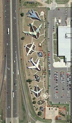 Aircraft on display along Interstate 40 in Oklahoma City, Oklahoma - Near Tinker Air Force Base. Image from Google Earth.: 640 1 090 Pixel, 750 1 278 Pixels, 791 1 348 Pixels, Airforce, Oklahoma, Birds Eye View, 2010 Aircraft, Airports Airlines Planes