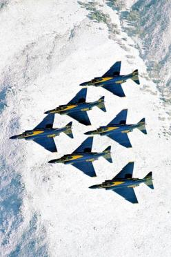 ♂ Aircrafts above snow mountain F-4 Blue Angels Diamond Formation: F 4 Phantom, F 4 Blue, Aircraft, Angels Diamond, Navy Blue, F4Phantom, Blue Angels