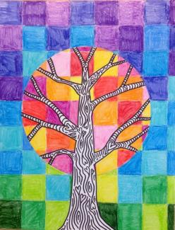 Art, math & nature study connection - warm and cool colors: Art Lessons, Warm Cool Tree, Grade Art, Color, School Art, Art Ideas, 5Th Grade, Fall Art Project, Art Projects