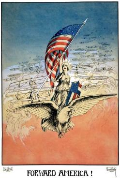 "Artist Carroll Kelly illustrated this 1917 WWI poster showing Columbia leading a squadron of airplanes while sitting upon an eagle while brandishing an American flag and shield: ""Forward America!"": Wwi Posters, Propaganda Poster, American Flags, A"