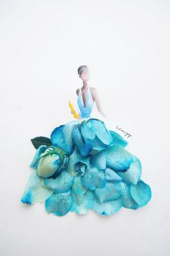 Artist Creates Beautifull Illustrations Using Real Flowers | 123 Inspiration: Flower Art, Blue, Illustrations, Zhi Wei, Fashion Illustration, Artist, Flowers, Lim Zhi