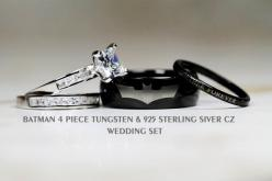 BATMAN Tungsten and 925 Sterling Silver 2.8 by Cloud9Tungsten: Batman Wedding Ring Set, Sterling Silver, Silver 2 8, Batman Engagement Ring, Batman Wedding Set, 925 Sterling, Batman Tungsten