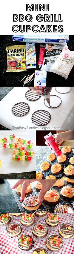 BBQ time!! Super cute cupcake tutorial - Mini bbq GRILL tops. Steaks and hamburgers made with candy melts and kabobs with gummy bears. I love these!: Cupcakes Cake, Fathers Day Cake, Cup Cake, Grill Cupcake, Bbq Cupcake, Bbq Grill, Cute Cupcake
