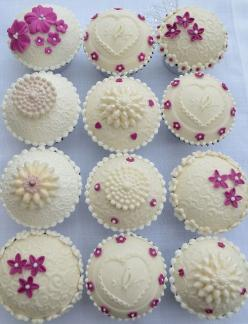 Beautifully Embossed Ivory Cupcakes: Beautiful Cupcakes, Embossed Cupcakes, Mini Cake, Hilary Rose, Cup Cake, Rose Cupcakes, Cupcake Design, Cupcake Decoration, Wedding Cake