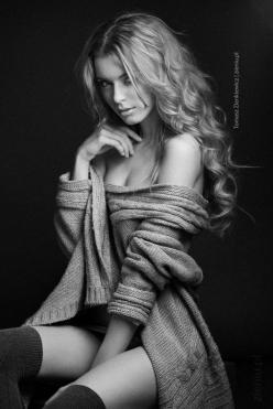 black and white beauty shot, oversized sweater off the shoulder with dark stockings: Sexy, Thomas Zienkiewicz, Beautiful Women, White, Beauty, Photo, Black, Sensual