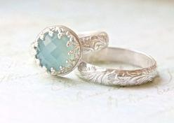 Blue Chalcedony Wedding Ring Set - Crown Bezel & Floral Engraved Band Engagement Ring - Elegant Alternative Wedding Set or Stacking Rings on Etsy, $80.00: Wedding Ring, Crown Bezel, Blue Chalcedony, Engraved Band, Chalcedony Wedding, Engagement Rings