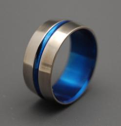 Blue Signature Ring  Titanium Wedding Bands by MinterandRichterDes, $120.00: Titanium Wedding Band, Aldris Wedding, Blue Wedding Rings, Royal Blue Wedding Ideas, Wedding Ideas Colors Decor, Blue Wedding Band, Wedding Colors, Sapphire Wedding Band, Sapphir