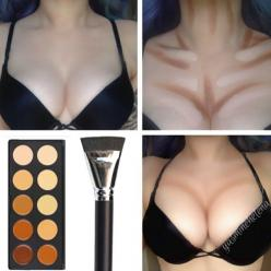 body/chest contouring..oh heyyyyyyy. I need to do this. Just seems like its too much work though.: Contours, Idea, Make Up, Makeup, Beauty, Tips, Chest Contouring, Hair
