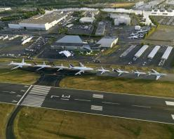 Boeing's planes in numerical order. From left to right: 777, 767, 757, 747, 737, 727, 717, 707.: Airplane, Boeing, Photo