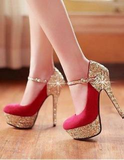 Bright red Red High Heels, platform base, and stiletto heels - only $115: Fashion, Red, Style, Highheels, Pump, Gold, High Heels, Shoes Shoes