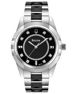 Bulova Women's Diamond Accent Black Ceramic and Stainless Steel Bracelet Watch 36mm 98P136: Diamonds, Watches, Watch Women, Stainless Steel