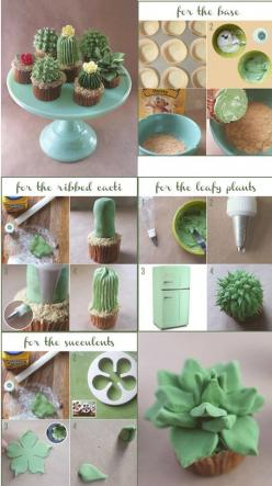 Cactus http://alanajonesmann.wordpress.com/2013/04/12/diy-house-plant-cupcakes/#more-3106: Cup Cakes, Plant Cake, Cactus Cupcakes, Idea, Tutorial, Cake Decorating