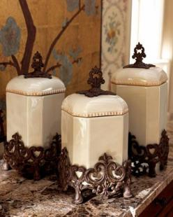 Canisters by GG Collection at Horchow. OMG! I have these in my kitchen and I love them.: Kitchens, Ggcollection, Collection Canisters, Gg Collection, Kitchen Accessories, Tuscan Style