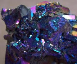 chalcopyrite that has been treated with acid to make it tarnish to these colors of blue, purple and red: Blue Magic, Gemstone, Gems Minerals, Nature, Peacock Ore, Cobalt Blue, Rock, Magic Chalcopyrite, Chalcopyrite Crystals