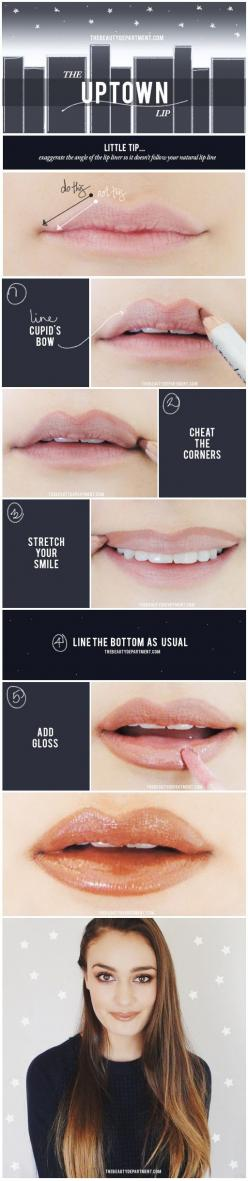 Cheat the line a little, add a 3D gloss and you've got fuller lips without any filler!: Beauty Tip, Uptown Lip, Quick Lip, Lip Tips, Full Lip, Lip Liner Tip, Makeup, Fuller Lips