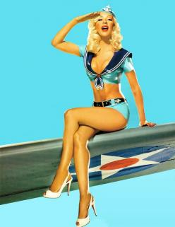 Christina Aguilera, Pin Up style on the military airplane wing. Traditional Pin Up pose.: Photos, Christina Aguilera, Post, Pinups, Pin Up Style, Pinup Girls, Pin Ups, Pin Up Girls, Military