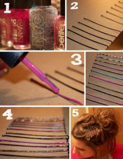 clever way to fancy up some bobby pins. lord knows I could spare a few of the 3 million or so I've amassed.: Ideas, Nail Polish, Nailpolish, Bobby Pins, Diy, Crafts