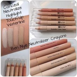 Color (or conceal) yourself happy with Ben Nye's Neutralizing Crayons! Smooth, creamy pigment that cancels out redness, bluish under eye circles, preps tattoos for concealment and cleans up your winged liner and red lip. Draw onto browbones, cheekbone