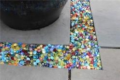 Colored glass Instead of gravel in the garden or patio...you can get these at the dollar store.: Idea, Dollar Stores, Garden Outdoor, The Dollar Store, Patio, Gardening Outdoor, Colored Glass