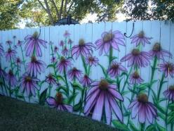 Coneflowers Airbrushed on Fence ... or how to create a stunning fence to enhance your landscape.: Painted Fences, Garden Ideas, Yard, Garden Art, Outdoor, Gardening